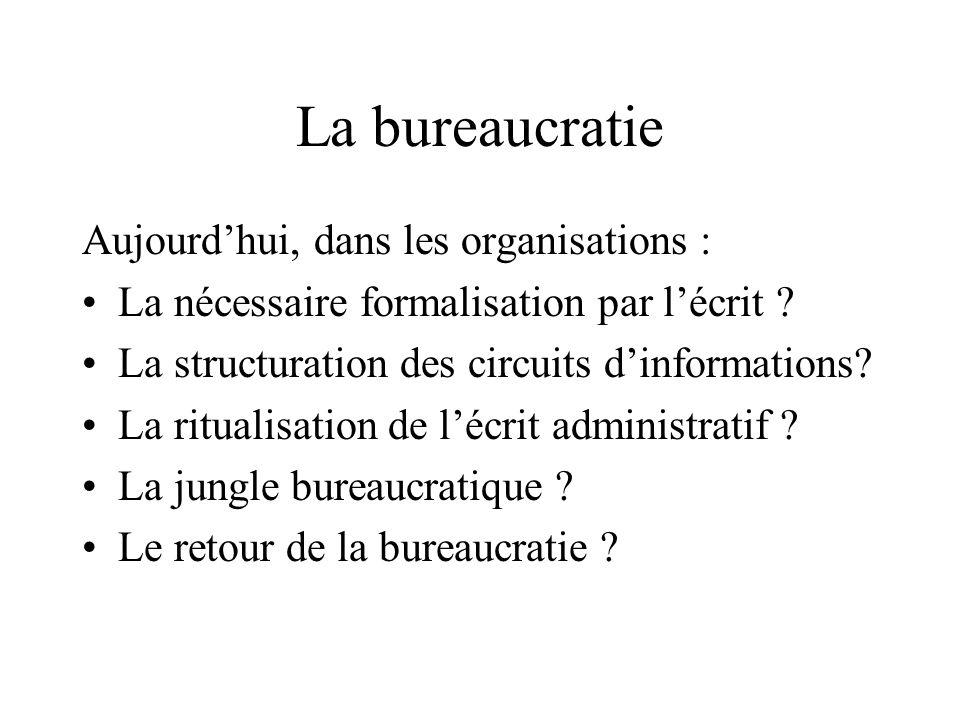 La bureaucratie Aujourd'hui, dans les organisations :
