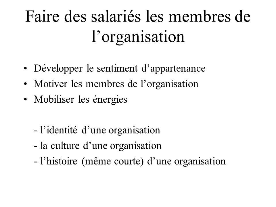 Faire des salariés les membres de l'organisation