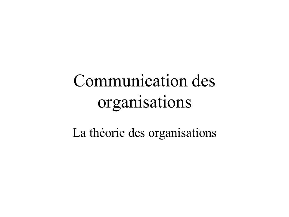 Communication des organisations