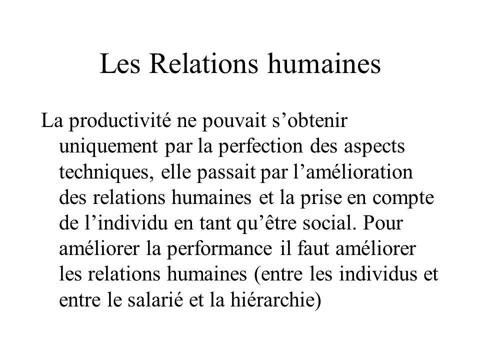 Les Relations humaines