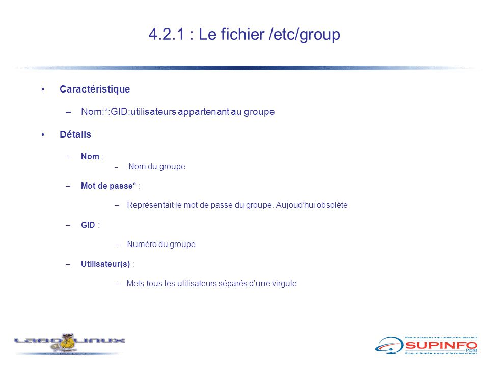 4.2.1 : Le fichier /etc/group