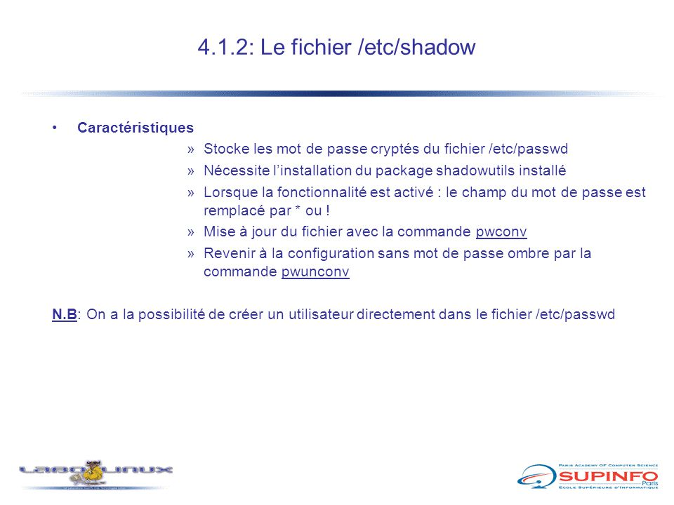 4.1.2: Le fichier /etc/shadow