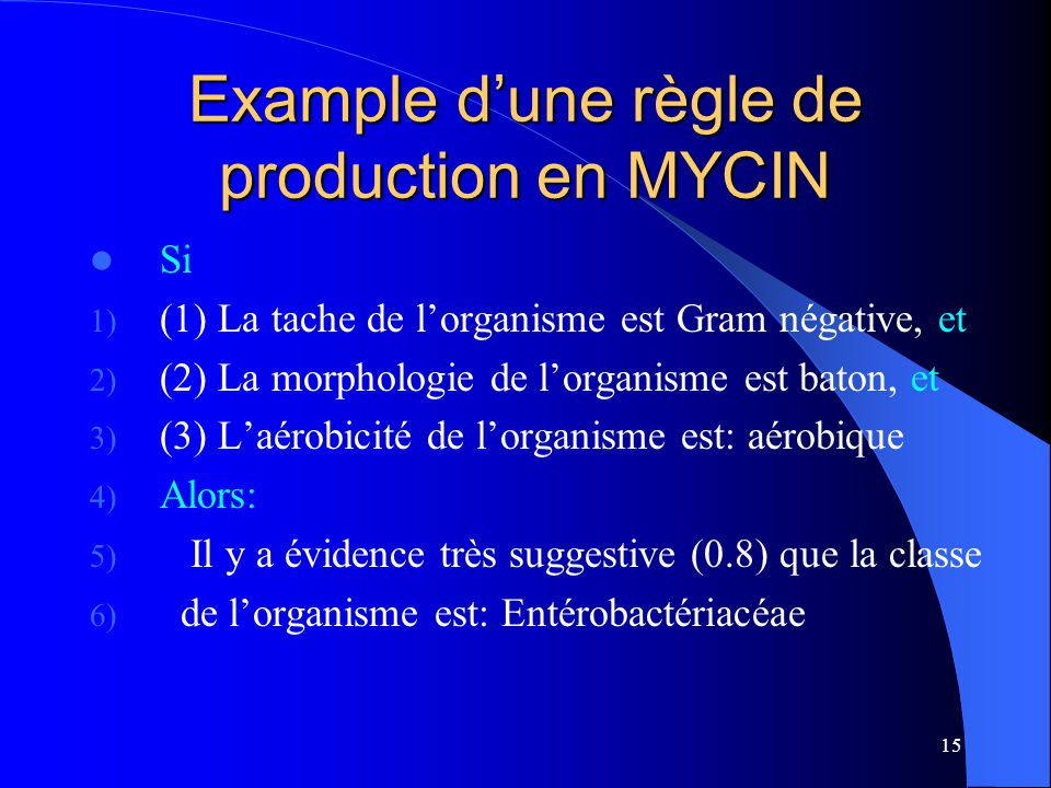 Example d'une règle de production en MYCIN