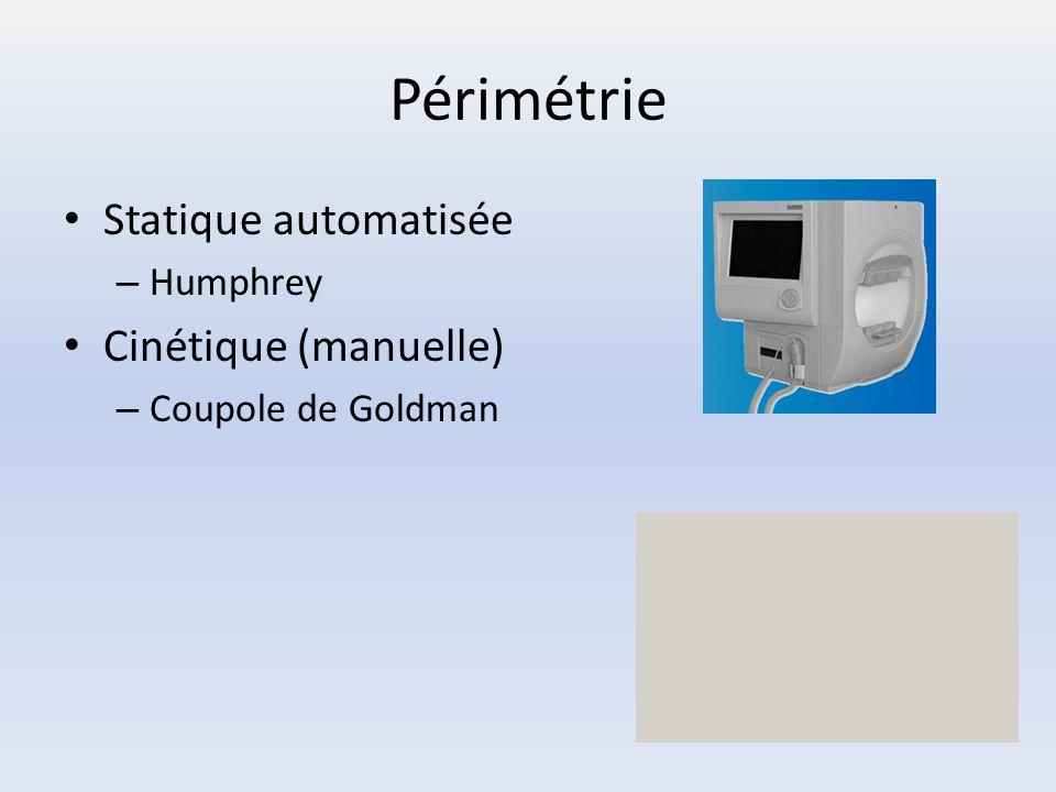 Périmétrie Statique automatisée Cinétique (manuelle) Humphrey