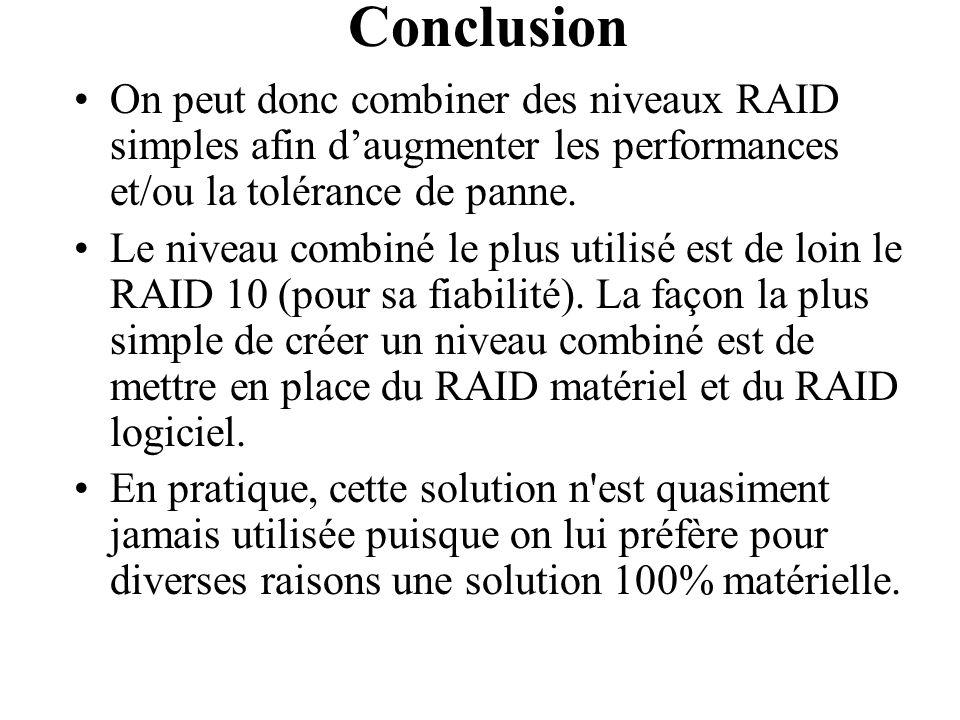 Conclusion On peut donc combiner des niveaux RAID simples afin d'augmenter les performances et/ou la tolérance de panne.