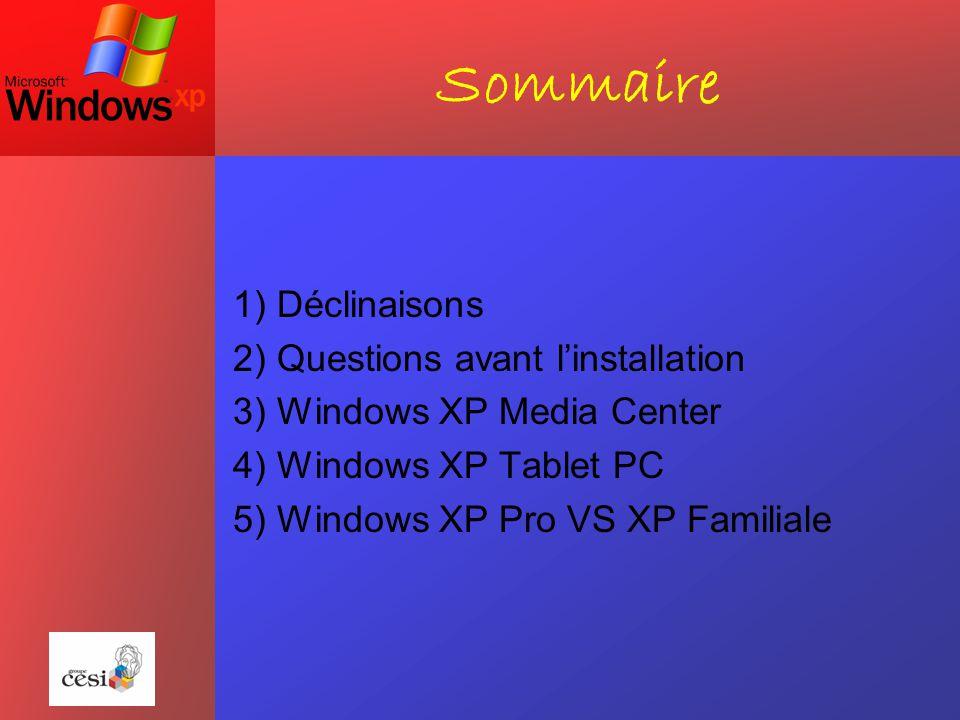 Sommaire 1) Déclinaisons 2) Questions avant l'installation