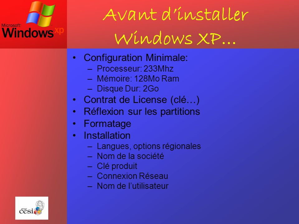Avant d'installer Windows XP…