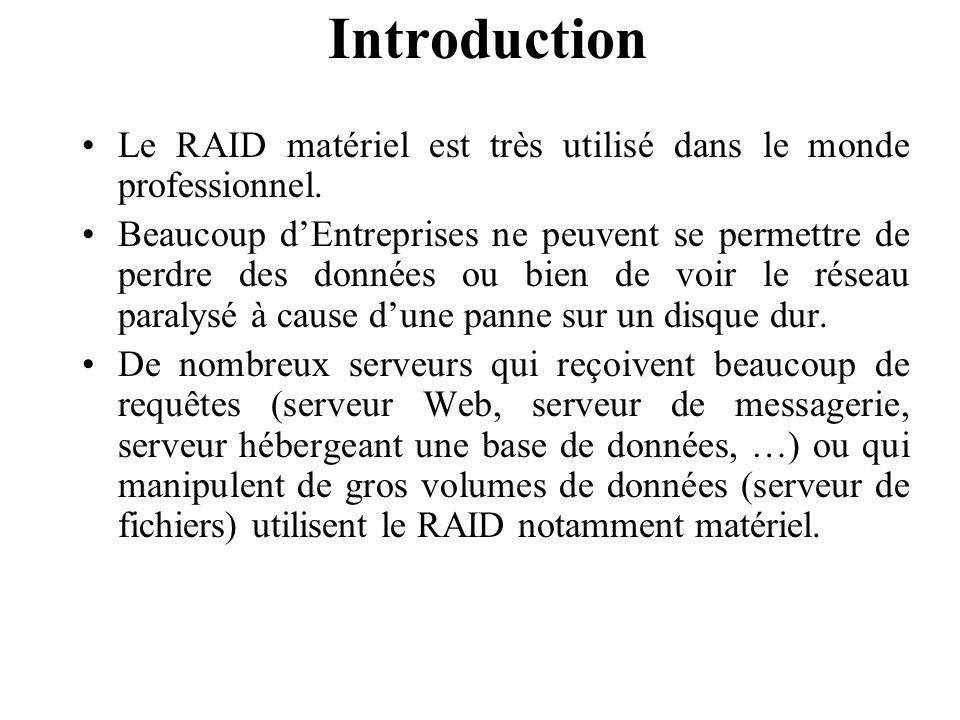 Introduction Le RAID matériel est très utilisé dans le monde professionnel.