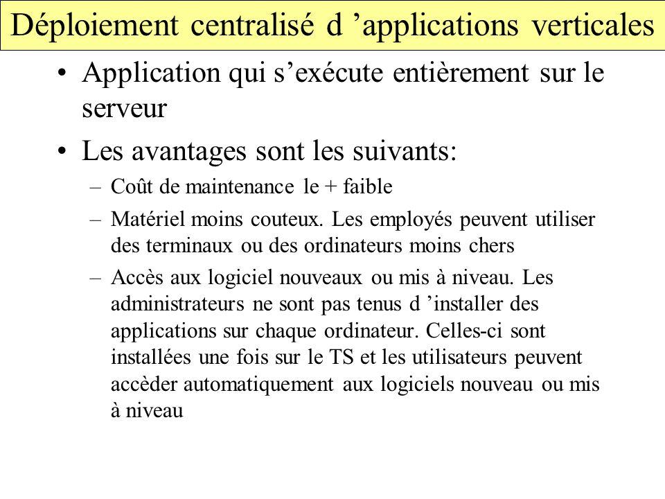 Déploiement centralisé d 'applications verticales