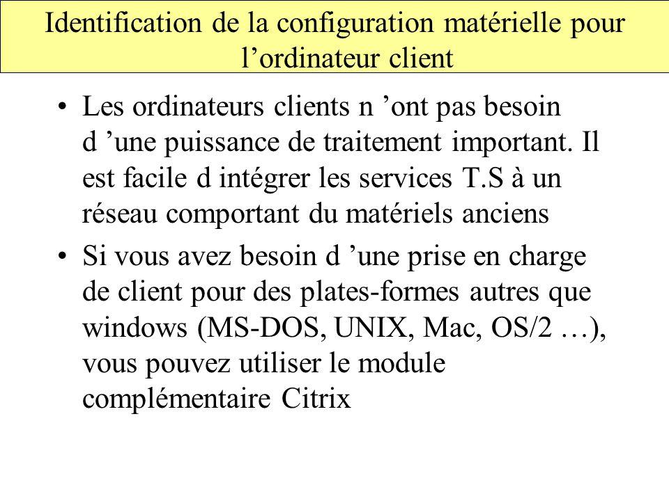 Identification de la configuration matérielle pour l'ordinateur client