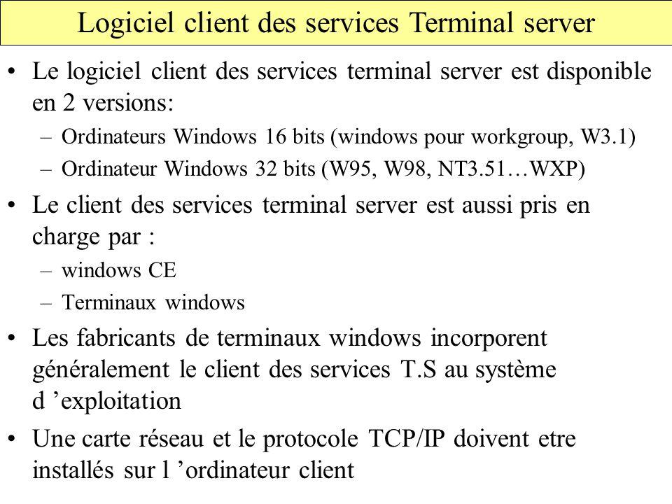 Logiciel client des services Terminal server