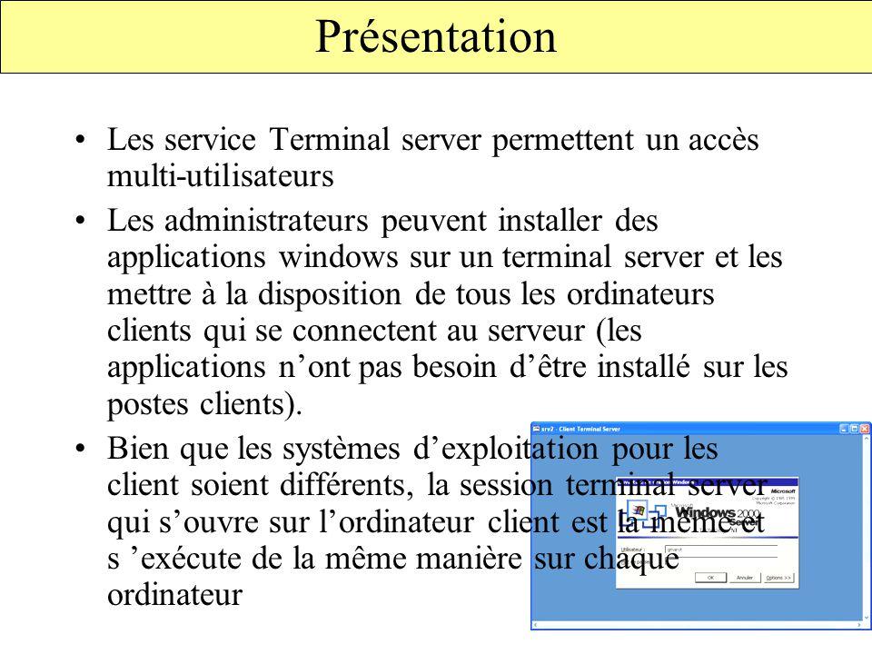 Présentation Les service Terminal server permettent un accès multi-utilisateurs.