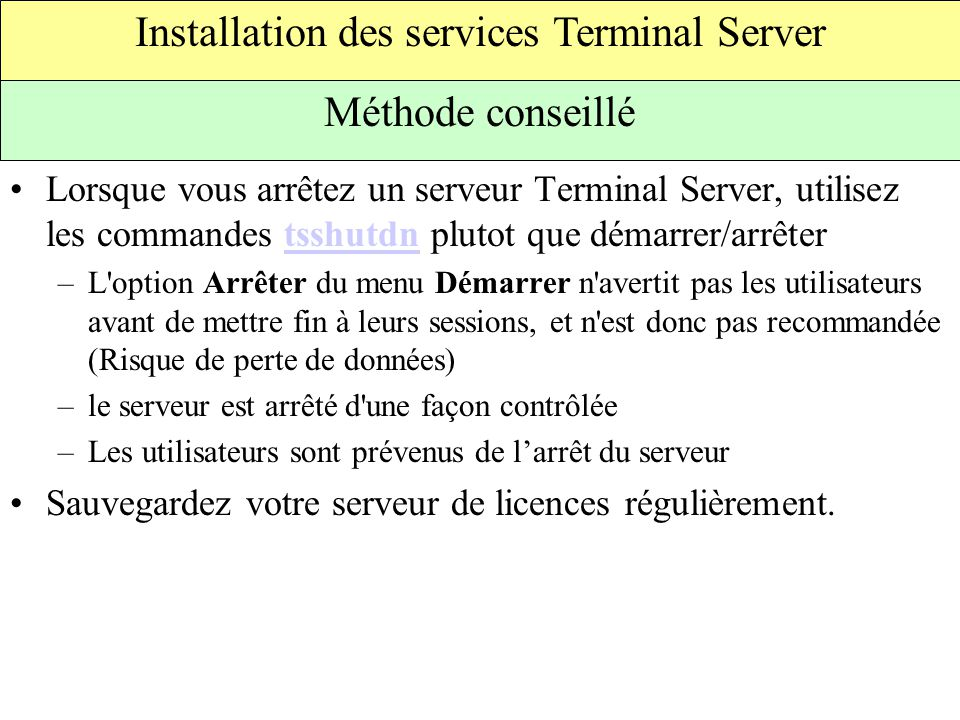 Installation des services Terminal Server