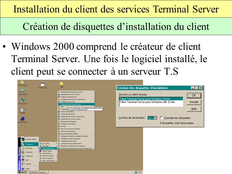 Installation du client des services Terminal Server