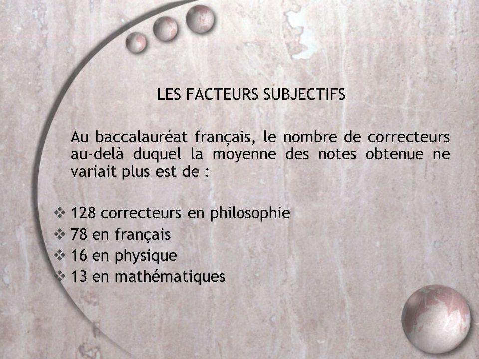 LES FACTEURS SUBJECTIFS