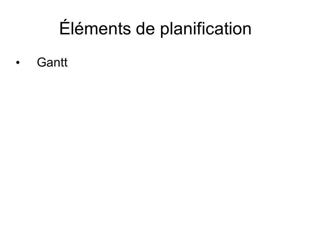 Éléments de planification