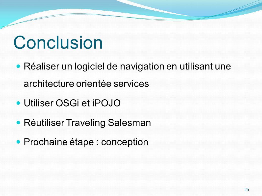 Conclusion Réaliser un logiciel de navigation en utilisant une architecture orientée services. Utiliser OSGi et iPOJO.