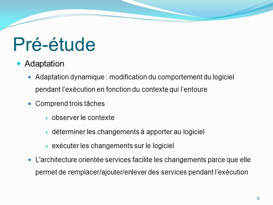 Pré-étude Adaptation. Adaptation dynamique : modification du comportement du logiciel pendant l'exécution en fonction du contexte qui l'entoure.