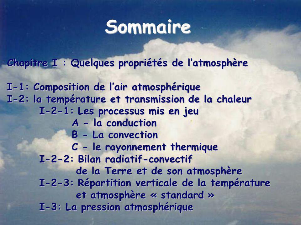 Sommaire Chapitre I : Quelques propriétés de l'atmosphère