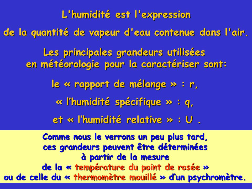 L humidité est l expression