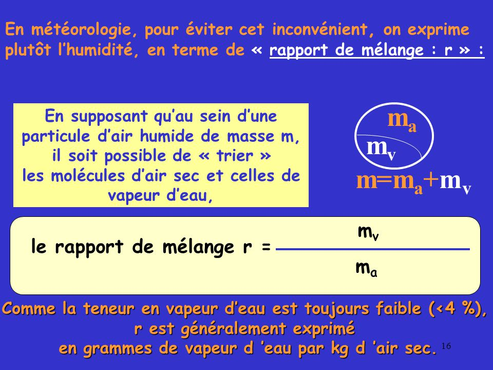 ma mv m=ma+mv ma le rapport de mélange r =