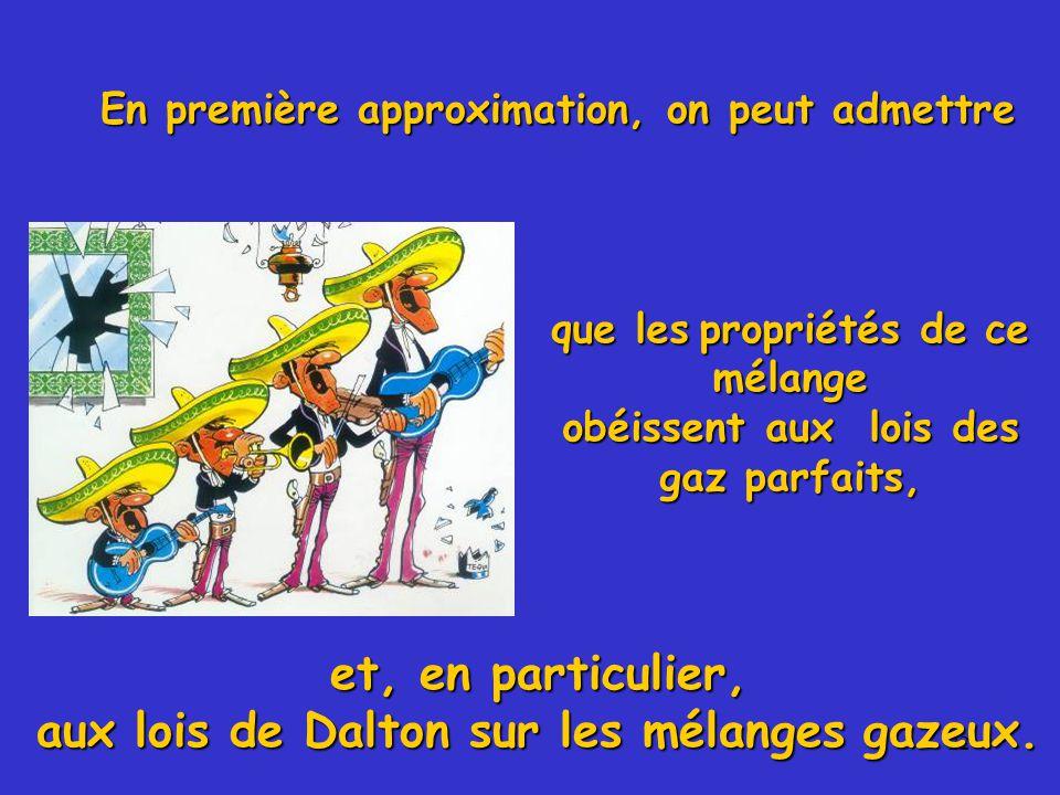 et, en particulier, aux lois de Dalton sur les mélanges gazeux.