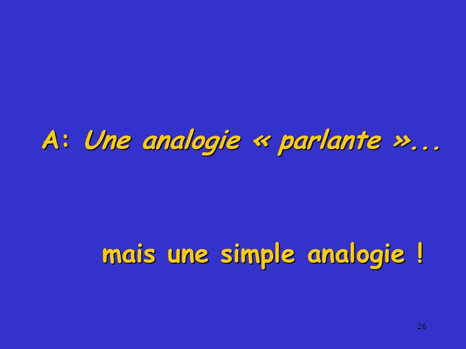 A: Une analogie « parlante »... mais une simple analogie !