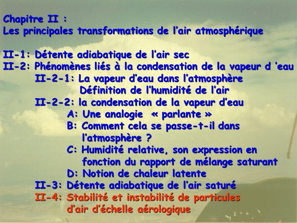 Chapitre II : Les principales transformations de l'air atmosphérique. II-1: Détente adiabatique de l'air sec.