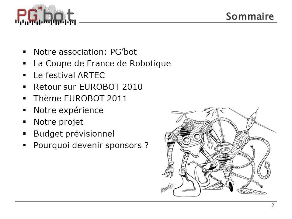 Sommaire Notre association: PG'bot La Coupe de France de Robotique