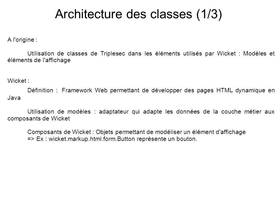 Architecture des classes (1/3)