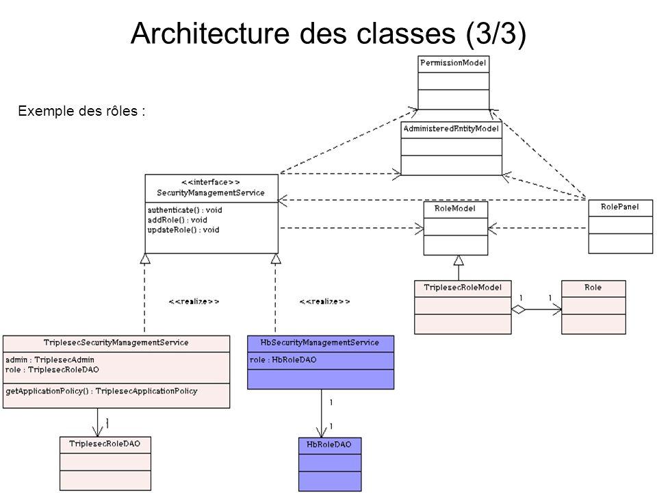 Architecture des classes (3/3)