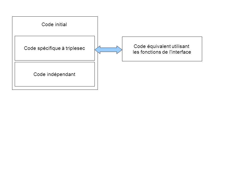 Code spécifique à triplesec Code équivalent utilisant