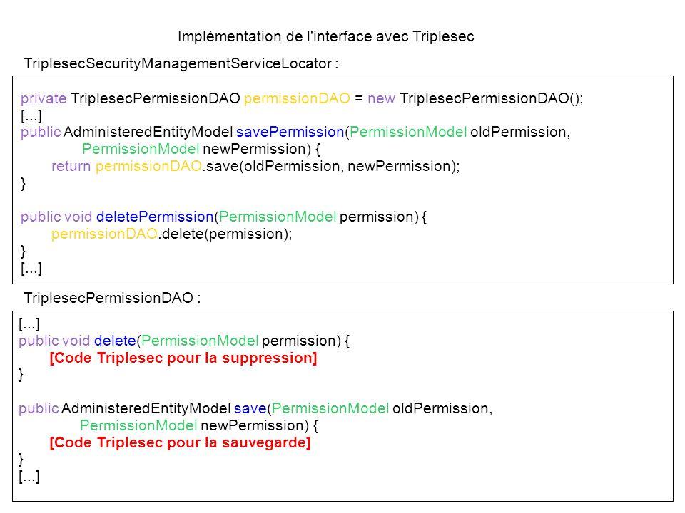 Implémentation de l interface avec Triplesec