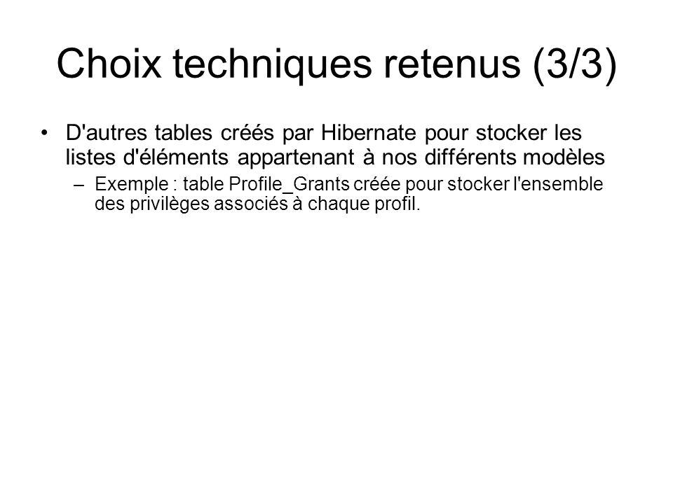Choix techniques retenus (3/3)