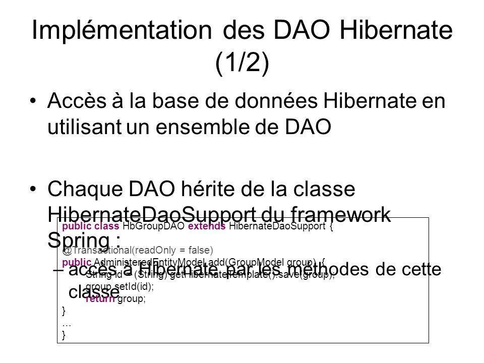 Implémentation des DAO Hibernate (1/2)