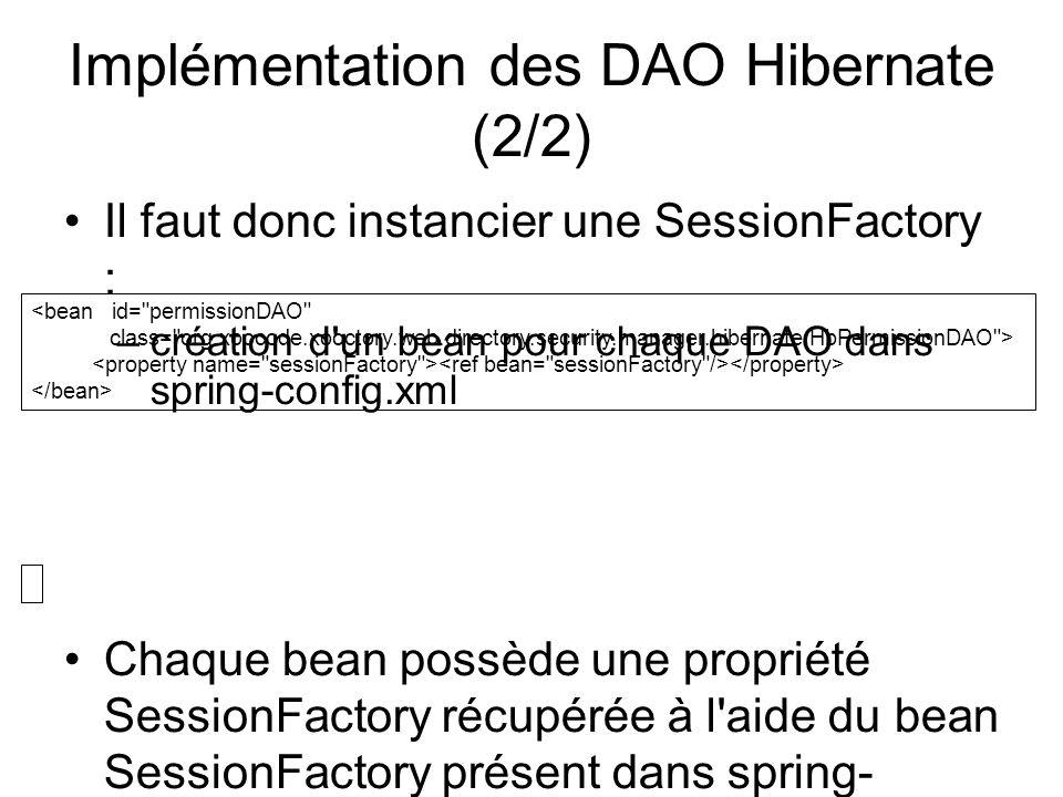 Implémentation des DAO Hibernate (2/2)