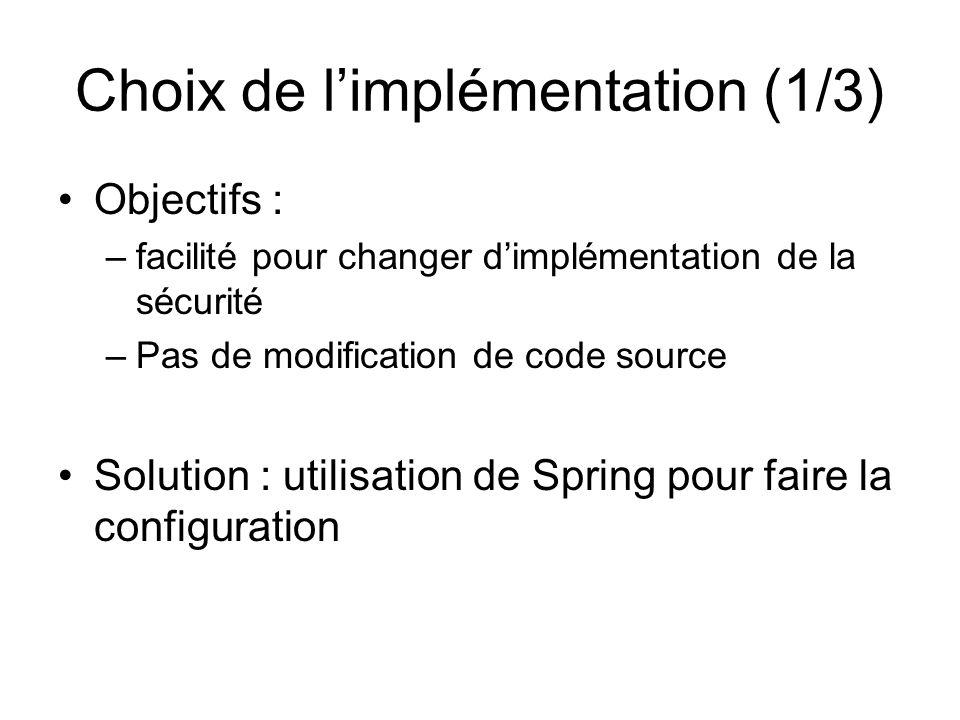Choix de l'implémentation (1/3)