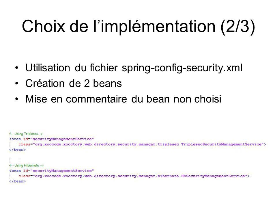Choix de l'implémentation (2/3)
