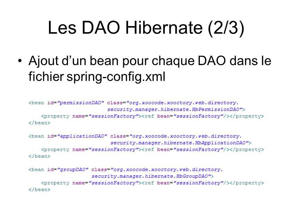 Les DAO Hibernate (2/3) Ajout d'un bean pour chaque DAO dans le fichier spring-config.xml