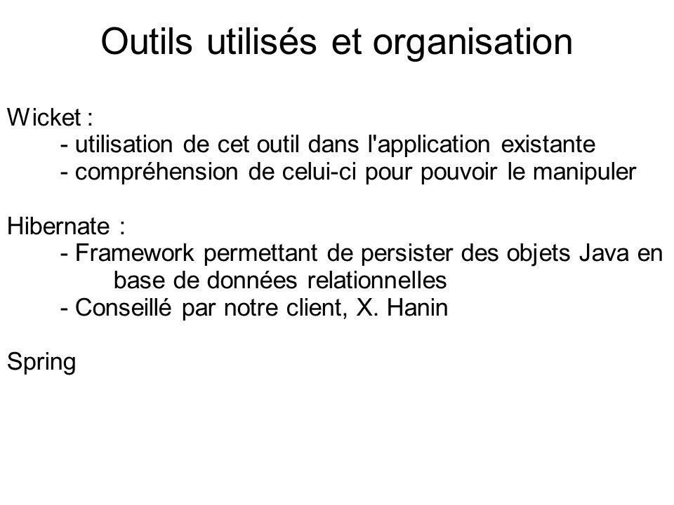 Outils utilisés et organisation