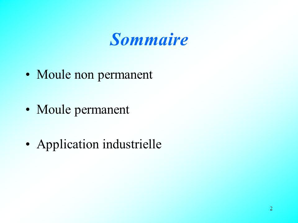 Sommaire Moule non permanent Moule permanent Application industrielle