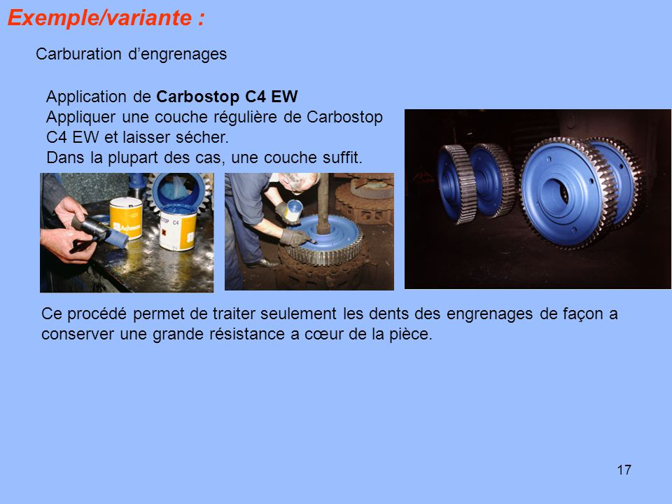 Exemple/variante : Carburation d'engrenages