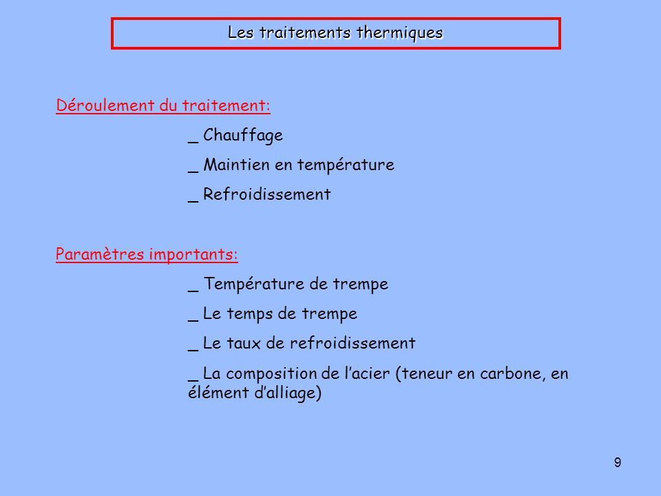 Les traitements thermiques
