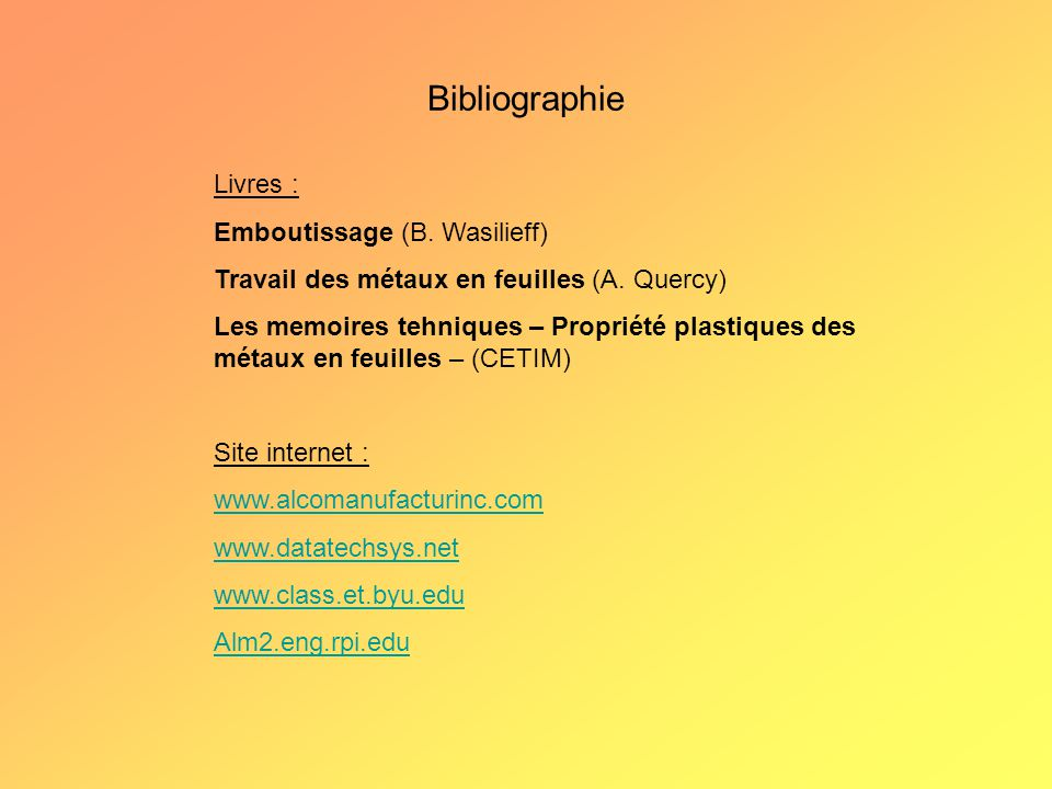 Bibliographie Livres : Emboutissage (B. Wasilieff)