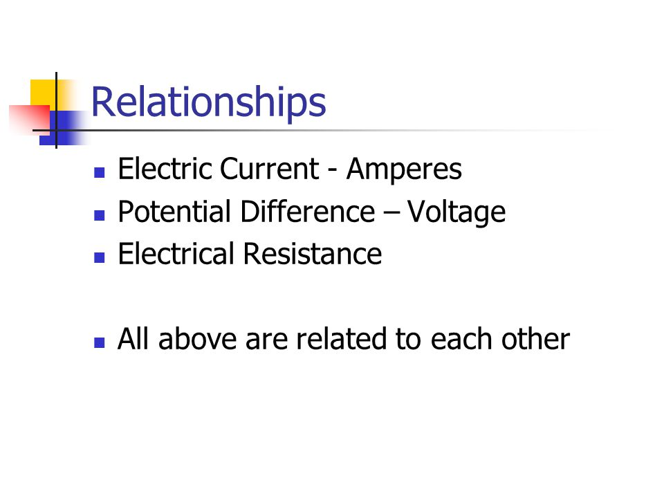 Relationships Electric Current - Amperes