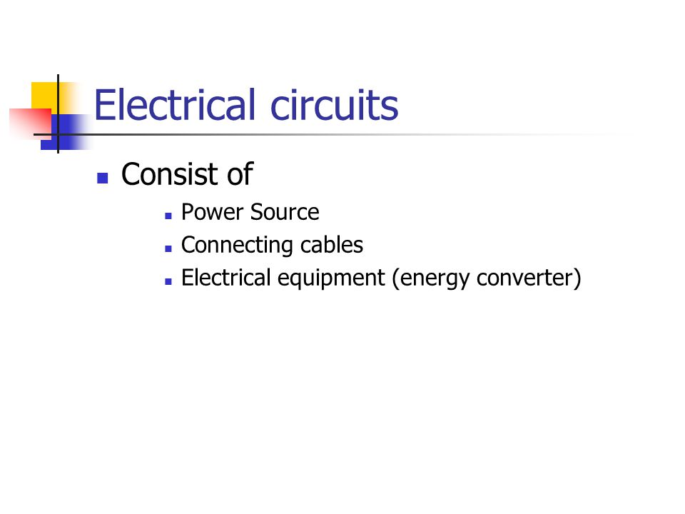 Electrical circuits Consist of Power Source Connecting cables