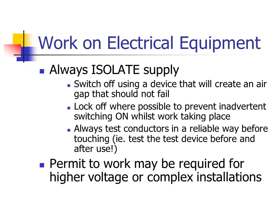 Work on Electrical Equipment