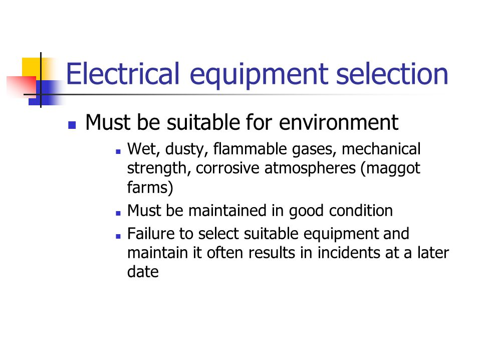Electrical equipment selection