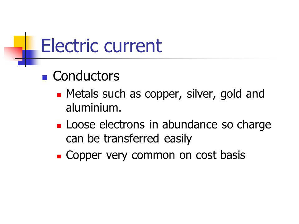 Electric current Conductors