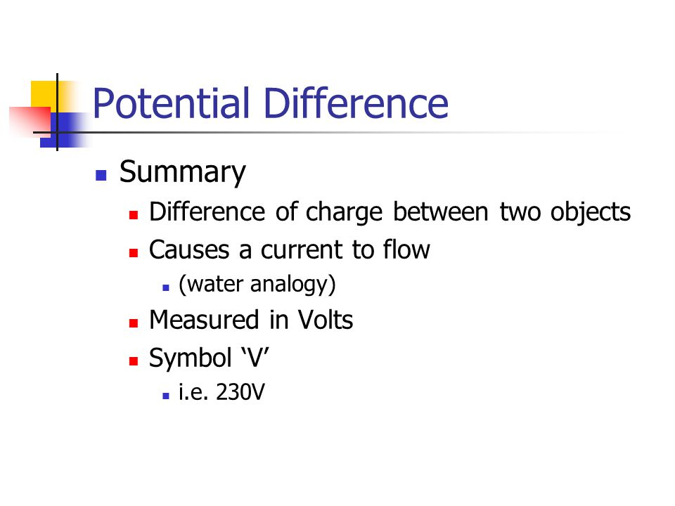 Potential Difference Summary Difference of charge between two objects